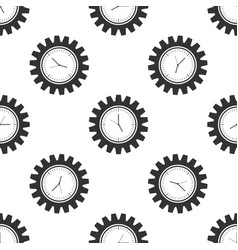clock gear seamless pattern on white background vector image