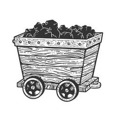 Coal trolley sketch vector