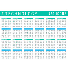 collection linear icons technology vector image