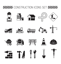Construction Objects Silhouette Icons Set vector