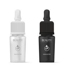 Cosmetics highligter bottles with dropper in black vector