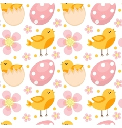 Cute Easter seamless pattern with birds and eggs vector image