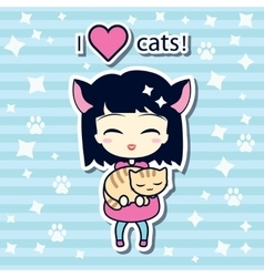 Cute girl holding small cat vector image