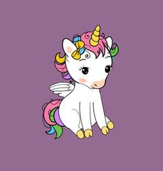 Cute little unicorn sitting print baunicorn vector