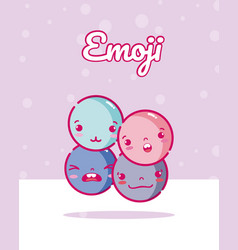 cute rounds emojis vector image