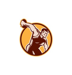 Discus thrower circle woodcut vector
