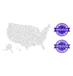 dotted map of usa territories and textured seal vector image