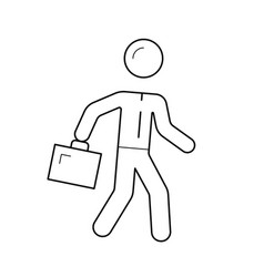 Employer walking with briefcase line icon vector