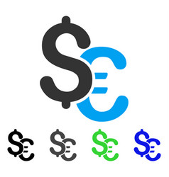 euro and dollar currency flat icon vector image