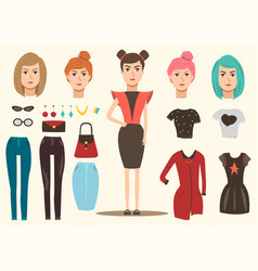 Fashion model elements set vector