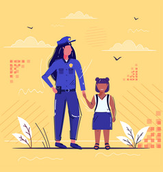 Female police officer holding hand little african vector