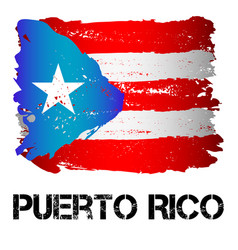 Flag of puerto rico from brush strokes vector