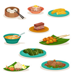 flat set of traditional malaysian dishes vector image