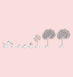 flat tree planting stages symbols set vector image