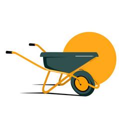 Flat yellow wheelbarrow in vector