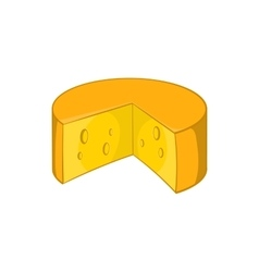 French cheese icon in cartoon style vector