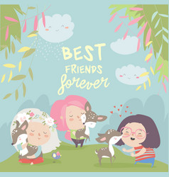 funny cartoon girls with cute deerbest friends vector image