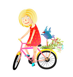 Girl and birdie riding bicycle happy summer vector