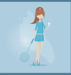 Girl playing in badminton vector