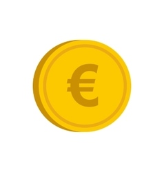 Gold coin with euro sign icon flat style vector image