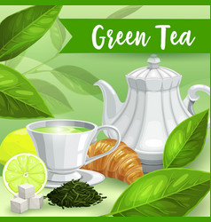 Green tea lime and croissant herbal drink poster vector