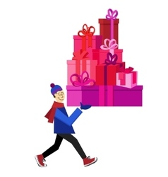 Guy buying presents for Valentine Day vector