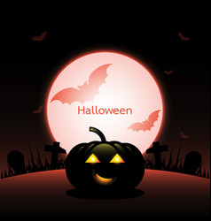 halloween pumpkin created red moon background vector image