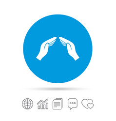 Hands protect cover sign icon insurance symbol vector