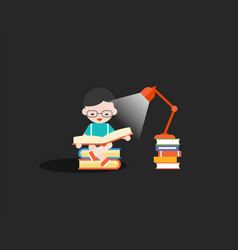 happy boy reading book in the dark with lamp and vector image