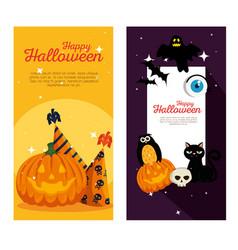 happy halloween celebration set icons vector image