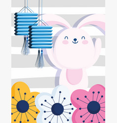 happy mid autumn festival cute bunny chinese vector image