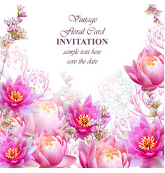 Invitation or greeting card with water lily vector