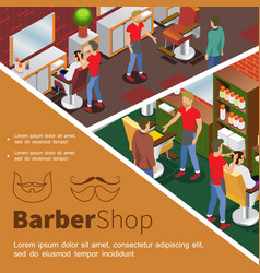 isometric barbershop colorful concept vector image