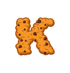 k letter cookies cookie font oatmeal biscuit vector image