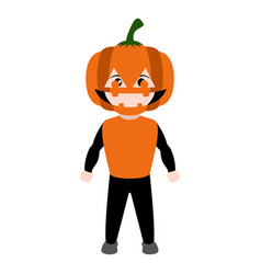 kid with a pumpkin costume halloween vector image