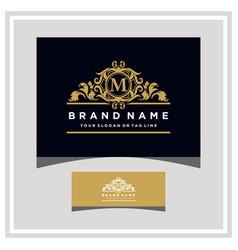 letter m logo design concept royal luxury gold vector image