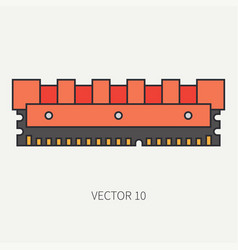 Line flat color computer part icon data vector