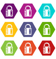 lock system icons set 9 vector image