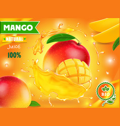 Mango juice advertising package design vector