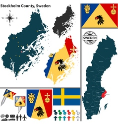Map of Stockholm County vector