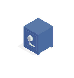 Massive metal bank safe isometric icon vector