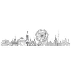 moscow skyline line art 2 vector image