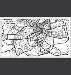 nairobi kenya city map iin black and white color vector image