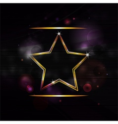 Neon gold star border background vector