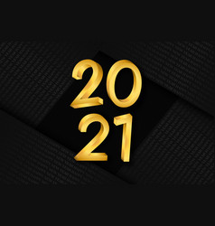 new year 2021 gold black luxury number card vector image