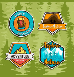 Outdoor travel forest adventure label sign set vector