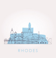 Outline rhodes skyline with landmarks vector