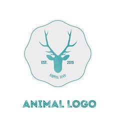 Polygonal hipster logo with head of deer in mint vector