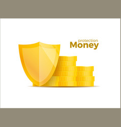 protection money concept 3d shield saving dollar vector image