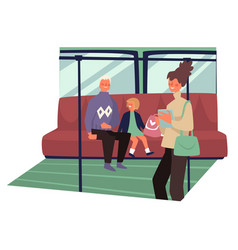 Public transport interior passengers of vector